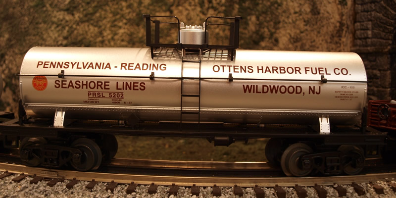 "O Gauge MTH PRSL Tank Car marked for the fictional ""Ottens Harbor Fuel Co. Wildwood, NJ"""