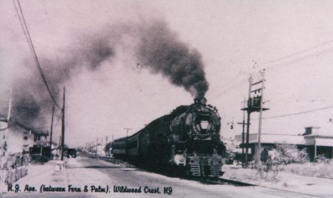 Photo of a steam locomotive on New Jersey Avenue near Palm Road in Wildwood Crest, NJ