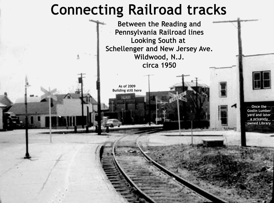 Photo of railroad tracks in Wildwood NJ circa 1950