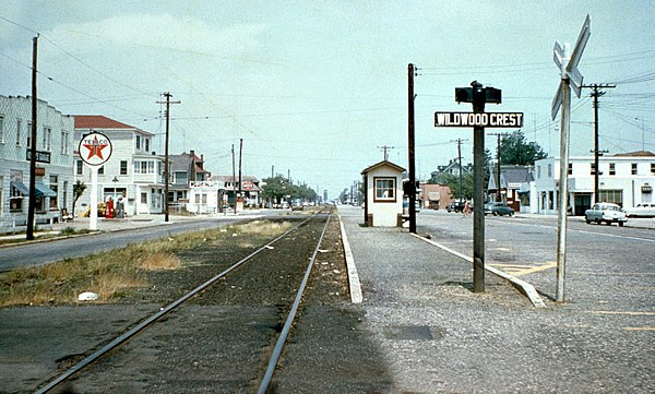 Vintage photo (1950s) showing the railroad track in Wildwood Crest, NJ