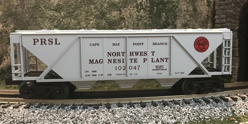 O Gauge MTH PRSL covered hopper car marked for the Northwest Magnesite Plant in Cape May Point, NJ